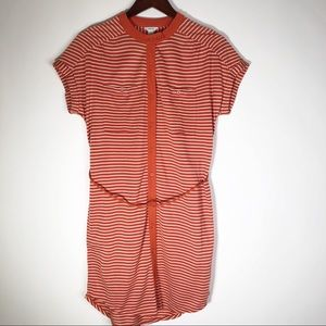 Fossil Striped Orange Button Up Midi Dress Small